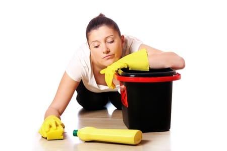 scrubbing floors